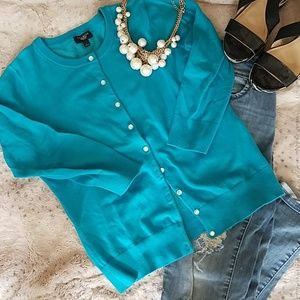 TALBOTS Charming Cardigan in Island Turquoise